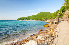 Rock sea and blue sky at Tien beach Stock Images