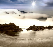Rock, sea and cloud Royalty Free Stock Image