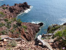 Rock, sea, French Riviera, Saint Tropez, France Stock Images