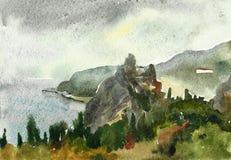 Rock in the sea in Gurzuf, ruines of genuese castle, Yalta Stock Image