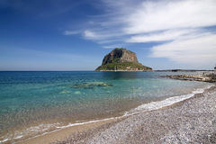 Rock In The Sea. The historic rock of Monemvasia, southern Greece royalty free stock photo