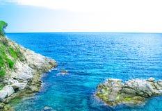 Rock in the sea. The rocky coastline. Rock in the sea Stock Image