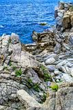 Rock in the sea. The rocky coastline. Rock in the sea. Mountains Stock Photo