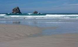 A rock in the sea at the Sandfly Bay Beach in Otago Penninsula near Dunedin in New Zealand. A rock in the sea at the Sandfly Bay Beach in Otago Penninsula in New royalty free stock image