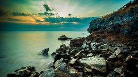 Rock in the sea. Sunset with rock in the sea ,Thailand stock video footage