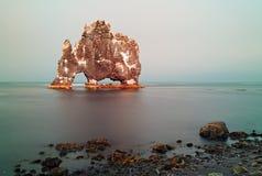 Rock sea symbol in Iceland - hvitserkur Royalty Free Stock Photography