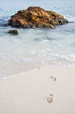 Rock in sea and foot. At thailand Royalty Free Stock Photography