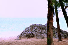 A rock by sea and trees Stock Photo