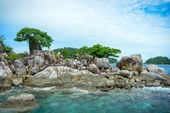 Rock in the sea with trees and clear water. Beautiful seascape with rock in Thailand.Stone island with sky background stock photos