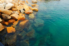 The rock in sea water Royalty Free Stock Photos