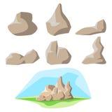 Rock set and background stock illustration