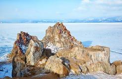 Rock Shamanka on cape Burkhan on Olkhon island in Siberian lake Royalty Free Stock Photos