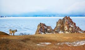 Rock Shamanka on cape Burkhan on Olkhon island in Siberian lake Royalty Free Stock Image