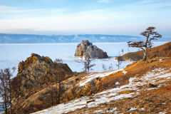 Rock Shamanka on Olkhon island in lake Baikal in winter Royalty Free Stock Images