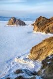 Rock Shamanka on Olkhon island in lake Baikal in winter Royalty Free Stock Image