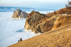 Rock Shamanka on Olkhon island in lake Baikal in winter Stock Photos