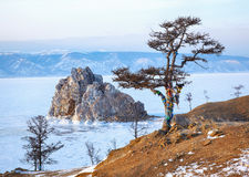 Rock Shamanka on Olkhon island in lake Baikal in winter Stock Photo