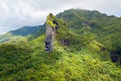 Rock with the shape of a Giant Tiki head on Raiatea island. Raiatea, Leeward Islands, Society Islands, French Polynesia, Oceania. stock photos