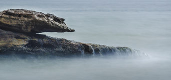 Shaped rock in the ocean. A rock shaped sea creature in the ocean Stock Images