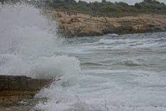 Rock shore of south Istria, Croatia stock images