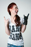 Rock shouting girl Royalty Free Stock Photography