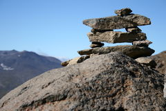 Rock sign. A sign on path in the mountains Royalty Free Stock Image