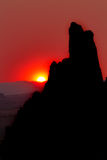 Rock silhouettes at sunset Stock Photo