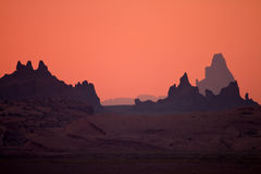 Rock silhouettes during sunset in Arizona Stock Photos