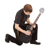 Rock singer with electric guitar Stock Photography