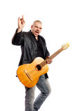 Rock singer. With a guitar on a white background Royalty Free Stock Image