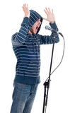 Rock singer isolated on white Royalty Free Stock Photography