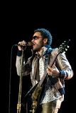 Rock singer Lenny Kravitz at concert. Kiev, Ukraine 2008 Royalty Free Stock Images