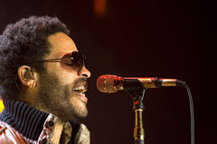Rock singer Lenny Kravitz at concert Stock Images