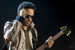 Rock singer Lenny Kravitz at concert Stock Photo