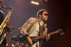 Rock singer Lenny Kravitz at concert. Kiev, Ukraine 2008 Royalty Free Stock Photography