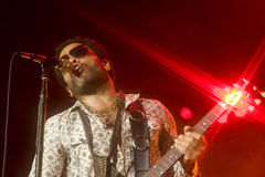 Rock singer Lenny Kravitz at concert. Kiev, Ukraine 2008 Royalty Free Stock Photo