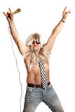 Rock singer with a microphone. Old-time rock singer with a microphone on a white background Stock Photos