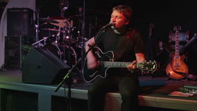 Rock singer on stage stock video footage