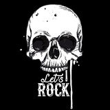 Rock skull label Stock Photography
