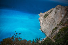 Rock and sky-blue water in Zakynthos, Greece Stock Images