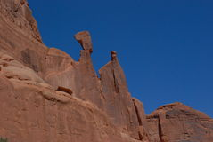 Rock and Sky. Rocky walls jutting into clear sky in Utah Royalty Free Stock Image