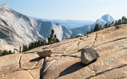 Rock Slabs and Half Dome, Yosemite National Park Royalty Free Stock Image