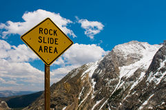 Rock slide area sign Royalty Free Stock Photos