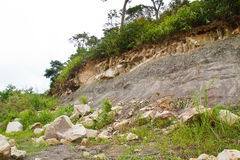 Rock slides along the street Royalty Free Stock Image