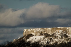 Rock with snow. Eagle is flying near the snowy rock in Gotland, Sweden Royalty Free Stock Photography