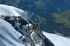 Rock and snow nearby Jungfraujoch in Switzerland Royalty Free Stock Images