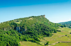 The Rock Of Solutré and wine yard's, Burgundy, France Stock Photos