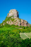 The Rock Of Solutré and wine yard's, Burgundy, France Royalty Free Stock Photography