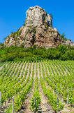 The Rock Of Solutré and wine yard's, Burgundy, France Stock Photo