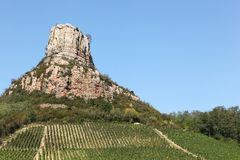 Rock of Solutre in Burgundy Royalty Free Stock Images
